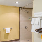 Quality Inn & Suites Laurel bathroom with roll-in shower